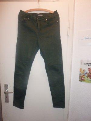 H&M Pantalone a sigaretta verde scuro Cotone