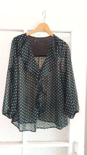 Zara Basic Ruche blouse bos Groen-wit Polyester