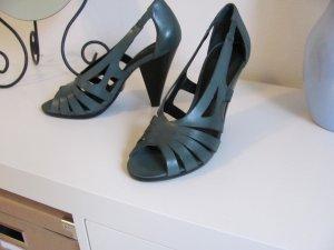 Buffalo High-Heeled Sandals dark green leather
