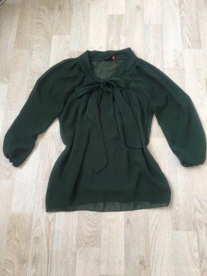 Dunkelgrüne transparente Bluse mit Schleife