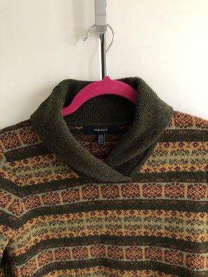 Dunkelgrüner, gemusteter Lambswool Pullover von GANT