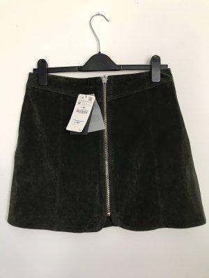 dunkelgrüner Lederrock Zara