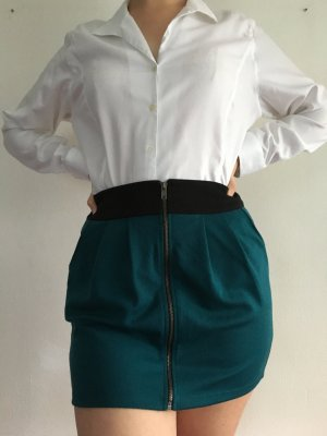 Forever 21 High Waist Skirt black-petrol polyester