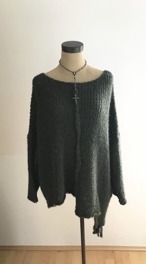 Oversized Sweater dark green mixture fibre