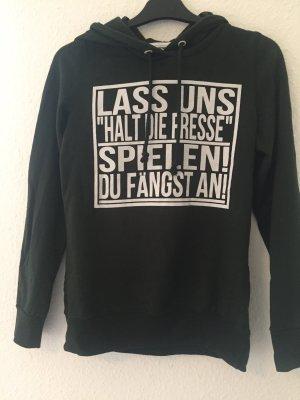 Dunkelgrüner Pullover mit Aufschrift