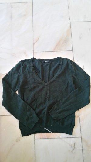 Dunkelgrüner V-Ausschnitt-Pullover
