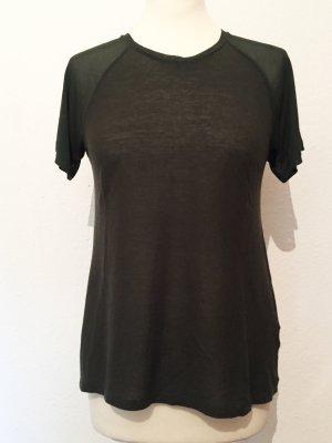 Dunkelgrünes / Khaki färbendes Shirt mit transparenten Ärmeln NEU