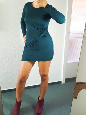 dunkelgrünes Kleid mit Drapierung Gr.S