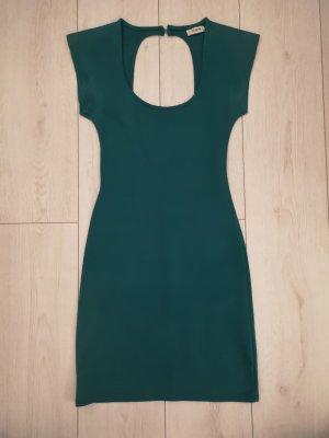 Dunkelgrünes Kleid mit großem Cutout am Rücken