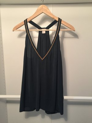 H&M Top forest green viscose