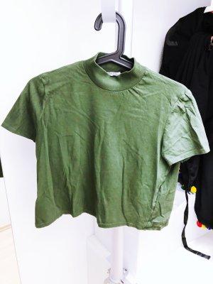 Dunkelgrünes T-Shirt von ZARA