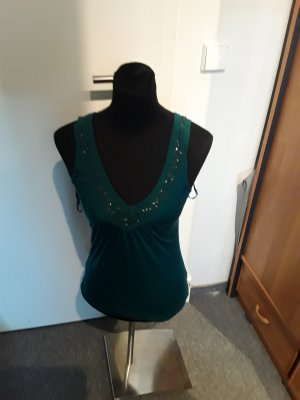 dunkelgrünes Top - luftig - mit Perlen - Größe S/M - S.Oliver