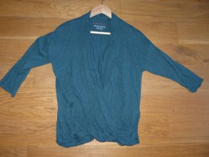 dunkelgrünes Wickelshirt mit Glitzer