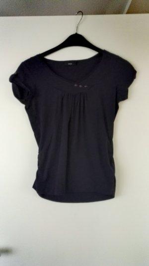 Dunkellilanes T-Shirt mit kleinen Knöpfen