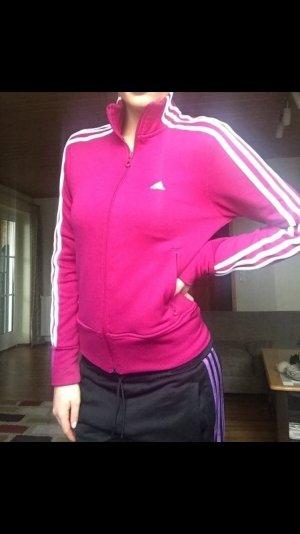 Dunkelrosa weiße adidas Trainingsjacke