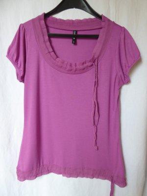 Dunkelrosafarbenes T-Shirt mit Raffung von Takko