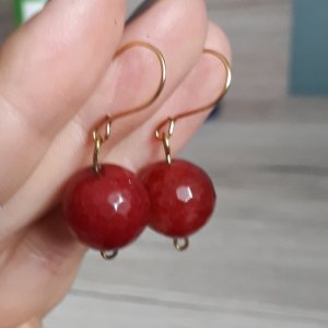 Dunkelrot Achat Ohrringe aus Italien