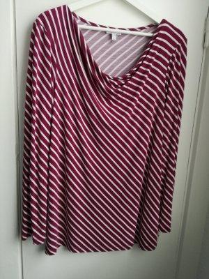 Dunkelrot-Weiß gestreiftes Shirt, Gr. 44/46
