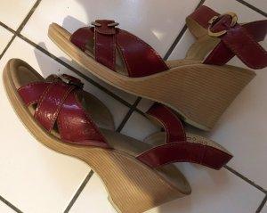 Plateauzool sandalen donkerrood Leer