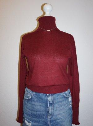 Zara Top con colletto arrotolato rosso scuro-bordeaux