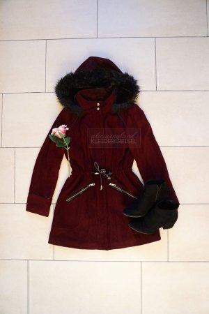 Dunkelroter Wintermantel Fake Fur