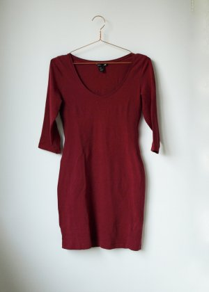dunkelrotes Basickleid H&M Bodycon Dress S