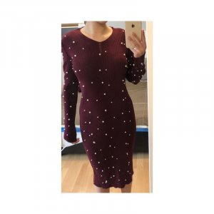 Sweater Dress bordeaux-white