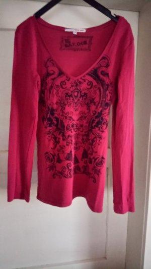 V-Neck Shirt magenta-black cotton