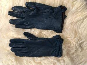 Dunkeltürkise Lederhandschuhe