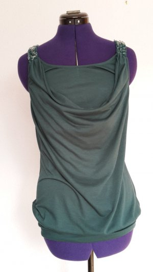 Flame Cowl-Neck Shirt forest green
