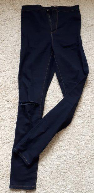 Hoge taille broek donkerblauw