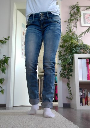 Tube jeans staalblauw
