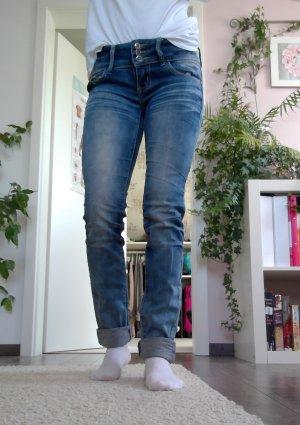 Jeans a sigaretta blu acciaio