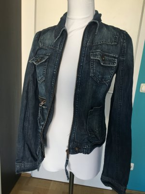 Dunkle Jeansjacke mit Reißverschluss, Only, 34