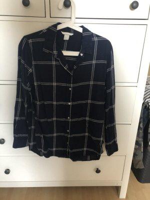 H&M Flannel Shirt white-dark blue