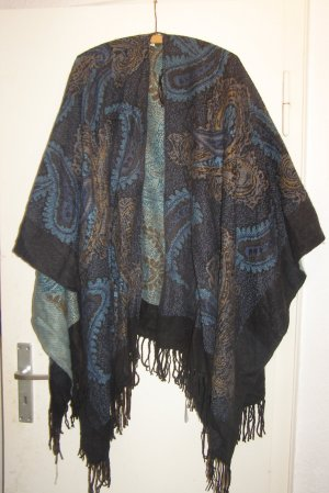 dunkler Poncho mit Paisleymuster