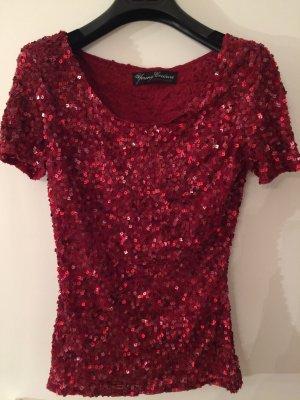 dunklrotes Glitter Shirt