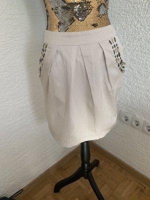 Falda globo beige claro-color bronce