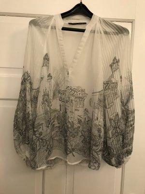 Durchsichtige Bluse mit Trompetenärmeln - - kaum getragen - - ein echter Hingu