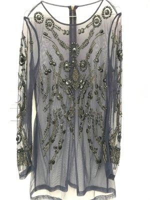 Durchsichtige dunkelblaue längere bluse , sehr hochwertig, einmal getragen