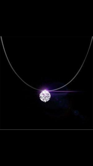Durchsichtige halskette silber925 mit stein 6mm