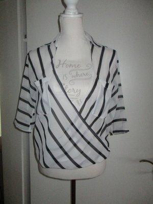 durchsichtige leichte Bluse von S.Oliver Gr. 38 weiß-schwarz