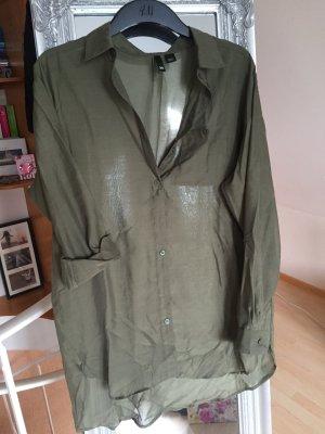 Durchsichtige olivgrüne Longbluse von H&M