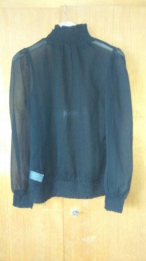 durchsichtige schwarze Bluse mit Rollkragen