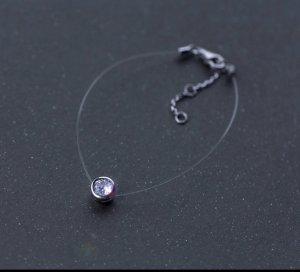 Durchsichtiges armband silber 925 14 cm + verstellbar neu