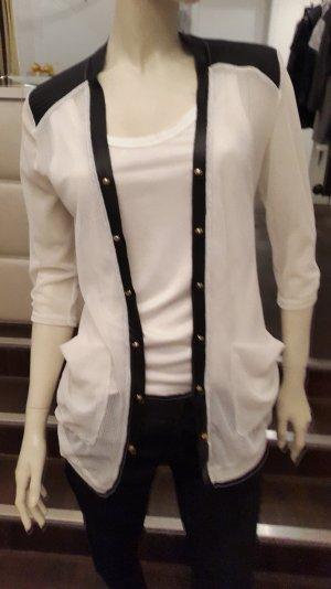 Durchsichtiges Netz Blusen Oberteil weiß/schwarz S