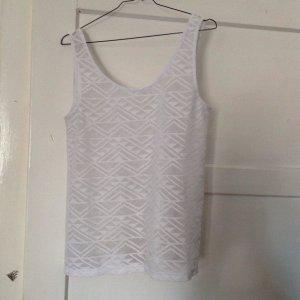H&M Camisa de malla blanco Fibra sintética