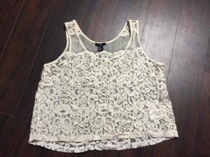 H&M Crochet Top natural white-white polyacrylic
