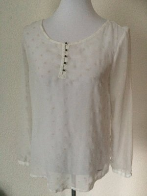 durchsichtiges weißes/cremefarbenes Shirt / Langarmshirt / Blusenshirt mit Sternen von Tom Tailor - Gr. 36