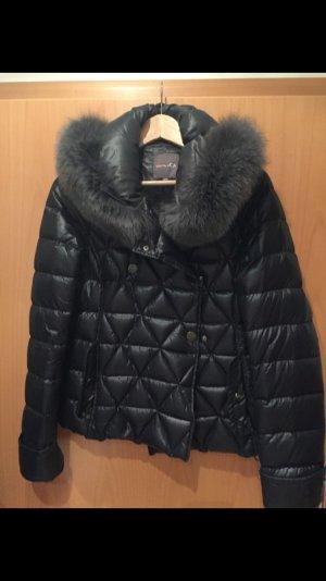 Duvetica Daunenjacke Jacke gesteppt grau schwarz Echtfell seltenes Modell Gr. 3